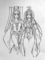 Goddesses of The Moon and Sun by Aku-Soku-San