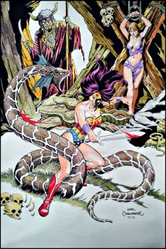 Wonder Woman in the Snakes pit. by karlcomendador