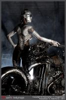 Dieselpunk Gynoid and the Robobike 3 by VictoriaGugenheim
