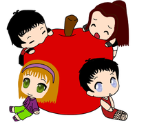 All my chibi OCs with apple by Kami4427