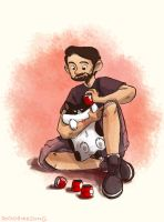 Putting On Rocket Cat's Shoes by dodobirdsong