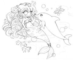 Mermaid and Dolphin ::Lineart Comm Sketch:: by YamPuff