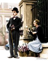 Chaplin and Flower Girl by NatasiaVerdoux
