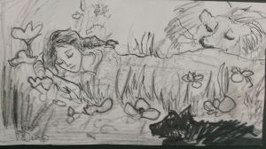 Dorothy The Lion and Toto Asleep in the poppies by Hillary-CW