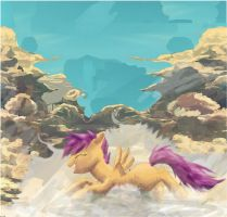Swimming in the clouds by SuperRobotRainbowPig