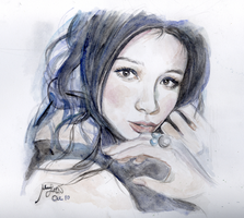 Vivian Hsu Watercolor Portrait by De1in