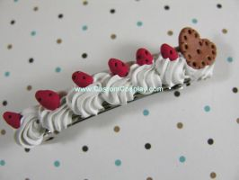 Strawberry cookie barrette by The-Cute-Storm