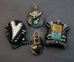 Metallic and Black Asst Polymer Clay Pendants by MandarinMoon