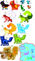 Big sheet of untaken adopts! Only 2-6 Points!! X3 by Lalaloraa