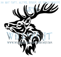 Tribal Stag Head Tattoo by WildSpiritWolf