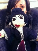 Lana Parrilla with her handknit Evil Queen Doll by piesmama