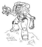 Inktober Day 5 - 40k Space Marine by countersunk81