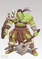 Commission : Orc warrior by Xelgot