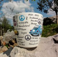 Flower pots, VW blue beetle by naraosart