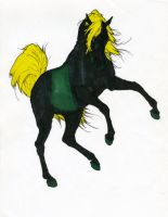 Black and Green Horse by StyxxsOmega