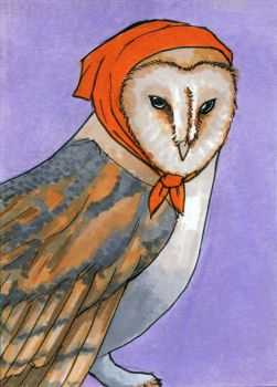 Barn Owl ATC by bruisedhound