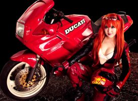 Asuka Langley in Motorcycle by pinkyluxun