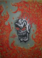 Flaming Skull by kingpoopy