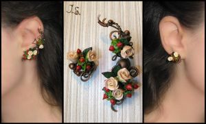 Tea roses ear cuff and stud by JSjewelry