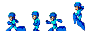 Megaman running to action by DanmanX5792