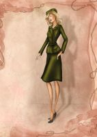 1940s Costume Inspired Fashion Illustration by BasakTinli