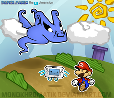 Paper Mario : The U Dimension - Blue Shadow by MonoKhromatik