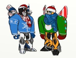 Smokescreen and Bumblee - sweaters and etc. by rabbitzoro
