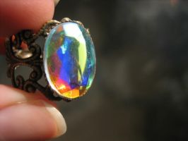 Oval Multicolored Rhinestone Ring by ClayMyDay