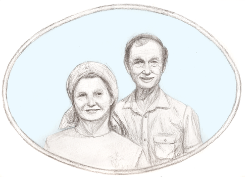 grandparents' birthday portrait by Iced-Stars