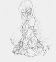 TRADITIONAL: Nightmare Ally Sitting Pose Doodle by InvaderIka