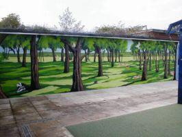 Forest in a school by BogusTheMuralist