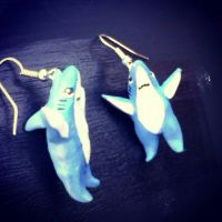 Polymer Clay Left/Right Shark Earrings by MrBlastoys