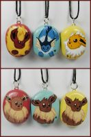 Eevee Evolution Necklaces by LeiliaClay