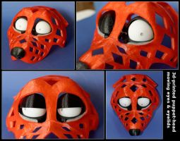 3d-printed puppet-head with moving eyes by Tioh
