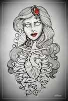 DEAD GIRL tattoo flash OUTLINE by oldSkullLovebyMW