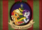 Merry Christmas from Applejack and Rarity! by haselwoelfchen