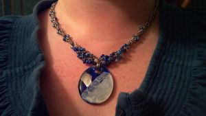 Blue Beaded Chain with Glass Pendant by ulfchild