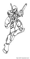 Tau girl battlesuit lineart by N647