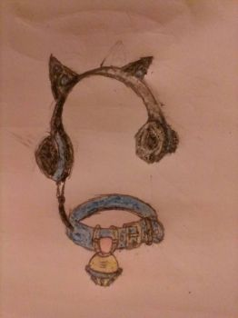 Cat Ears Headphones Light-Up Bell Mic (colored) by Darkmage666