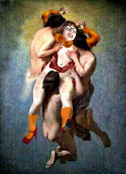 Velma beset upon by the ravenous Incubae by Theorionmage