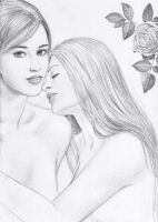 Two Girls and a Rose by dashinvaine