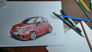 Fiat 500 Abarth - My first car drawing by DAREKSIG
