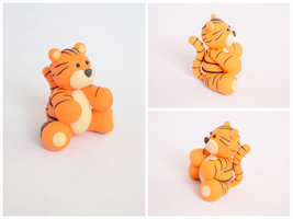 Cute Polymer Clay Tiger Sculpture by TheLinnypig