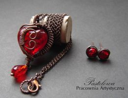 Red heart set by Pastely