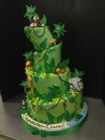 Four Tiered Topsy Turvy Jungle Cake by Spudnuts