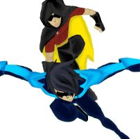 Nightwing and Robin by CrossedRunner