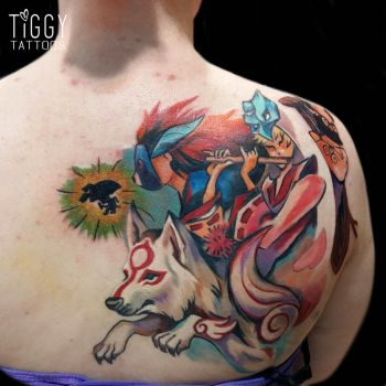 Okami Tattoo by tiggytattoos