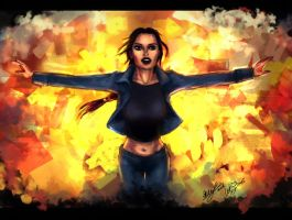 TR AOD: Lara escapes explosion color version by LeksaArt