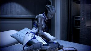 Mass Effect 3 Liara Studying Dreamscene by droot1986