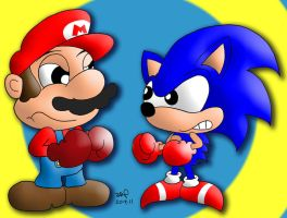 Mario Vs. Sonic by JimmyCartoonist